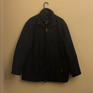 Calvin Klein double zip black coat